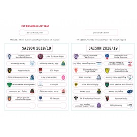 Set de magnets TOP 14  / PRO D2  - Saison 2018/2019