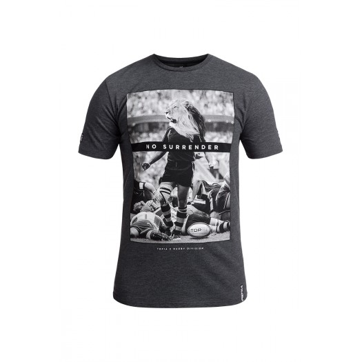 T-shirt à col rond Lion Rugby By Nature - Rugby Division noir chiné pour homme